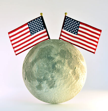 Moon and the American flag on a white background. photo