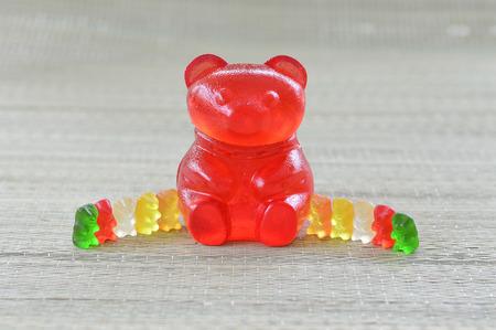 Giant gummy bear candy sweet big red. Stok Fotoğraf