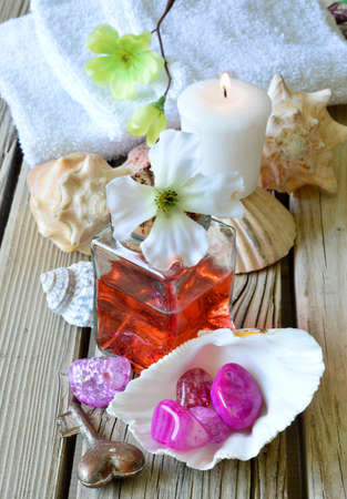 Spa salon towel shell aromatherapy treatment relaxation.