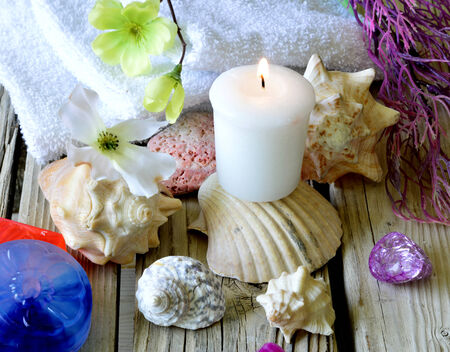 treatment: Spa salon towel shell aromatherapy treatment relaxation.