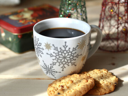 Christmas coffee fresh tasty hot in a beautiful cup. photo