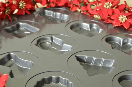 Metal molds for delicious Christmas cookies for the holiday. Stock Photo