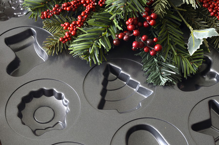Metal molds for delicious Christmas cookies for the holiday. photo