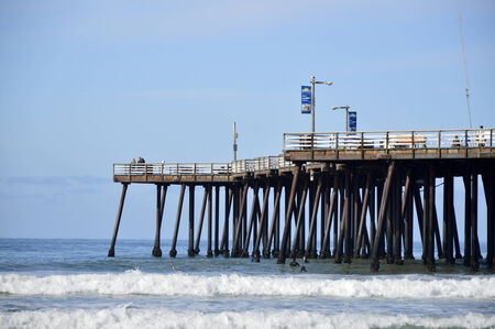 Pismo Beach Pier large wooden oceanfront in California. photo