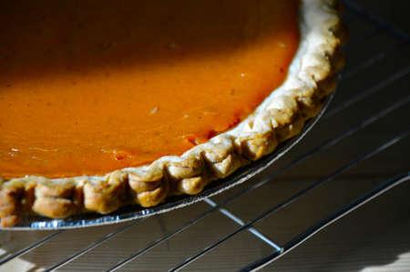 Pumpkin Pie fresh beautiful crispy on the table. photo