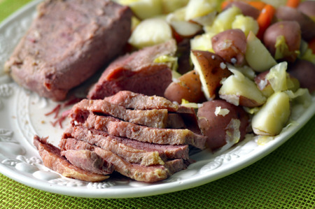 saint pattys: Patricks Day corned beef delicious fresh food. Stock Photo
