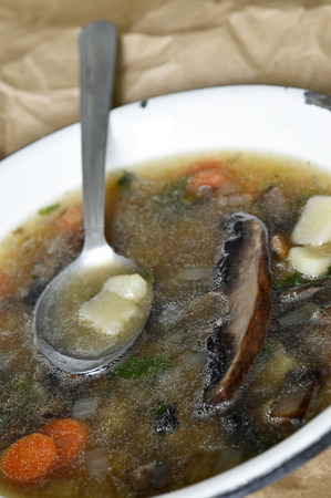 Portobello mushroom soup in a white enamel bowl