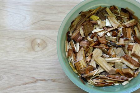 Wood chips for smoking meat and vegetables