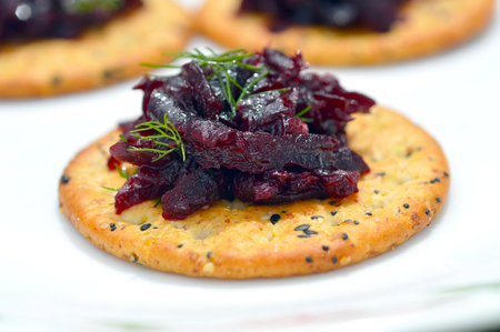 Fresh delicious beets on a plate on a cracker Banco de Imagens