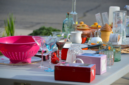 plaything: Garage sale, yard sale old unwanted items and utensils.