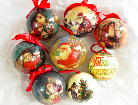 Vintage papier mache christmas ornaments Santa Claus retro