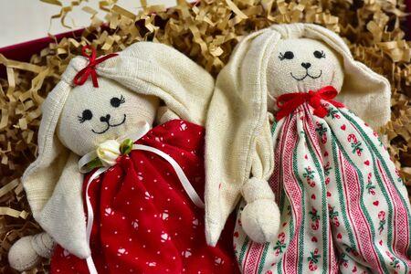 Textile soft toys dolls hares rabbits  Easter bunny decor Banco de Imagens