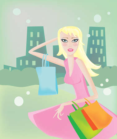 Yong blond girl shopper. illustration Stock Photo