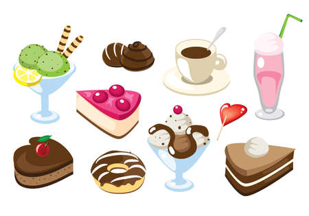 Collection of vector illustrated different desserts and drinks Stock Photo