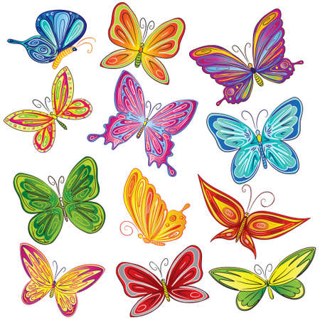 cartoon insect: Beautiful butterfly set