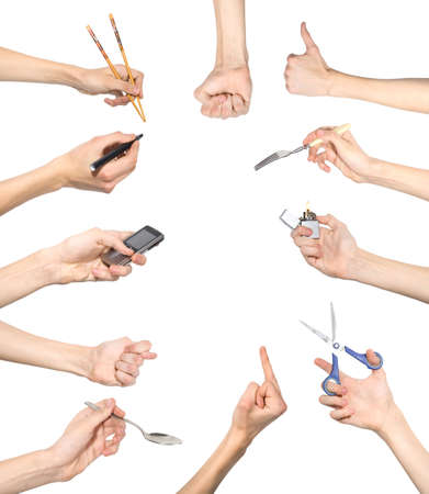 encendedores: Conjunto de gestos de la mano, aislado en blanco