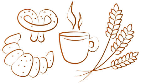 sweetmeats: Set of  illustrated tea-time icons
