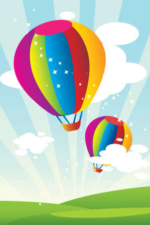 balloons  green: Hot air balloons  Illustration