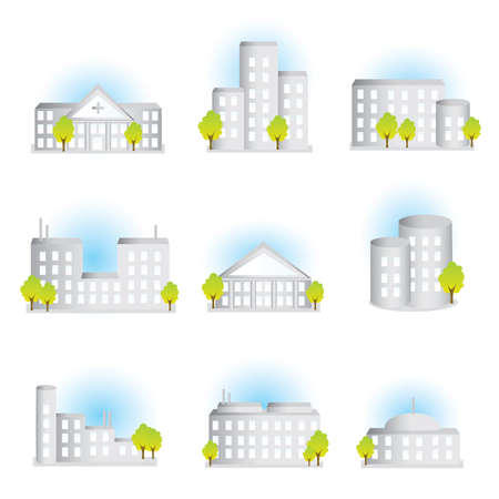 context: Collection of different illustrated buildings