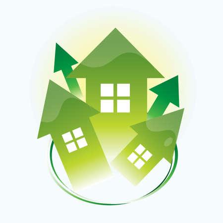 Eco houses 向量圖像