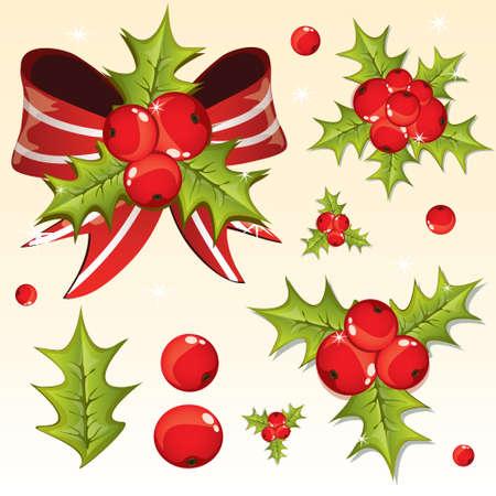 Holly berry design elements  Illustration