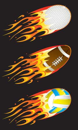 pelota caricatura: bolas de deporte en incendio 02 Vectores