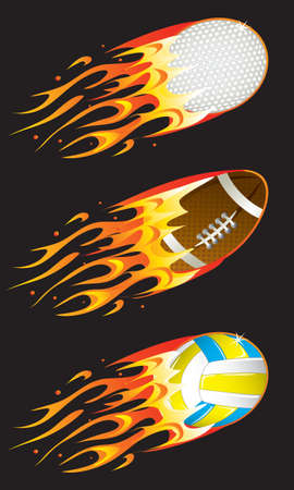 sport balls in fire 02 Vector