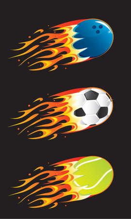 sport balls in fire 03