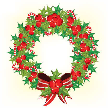 Holly berry wreath  Stock Vector - 8204691