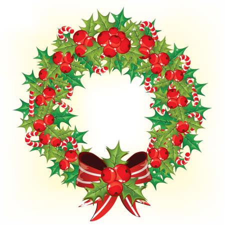 Holly berry wreath  Stock Vector - 8204691