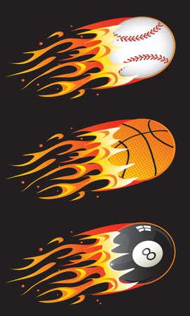 bola ocho: bolas de deporte en incendio