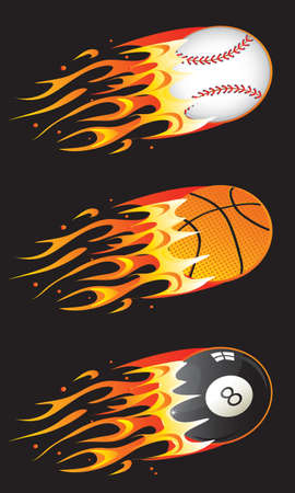baseball cartoon: sport balls in fire