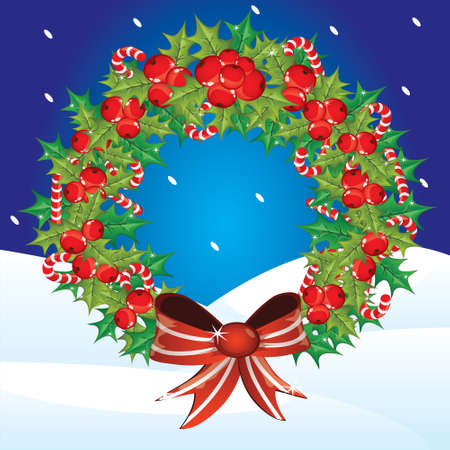 Holly berry wreath against a winter landscape Vector