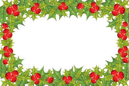 illustrated holly berry horizontal frame  Vector