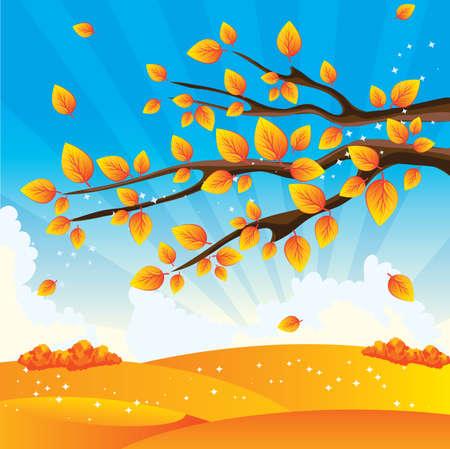 yellow landscape: Autumn tree  Illustration