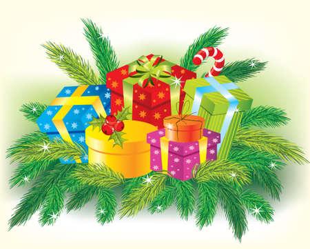 arbre     ? � feuillage persistant: Cadeaux de No�l