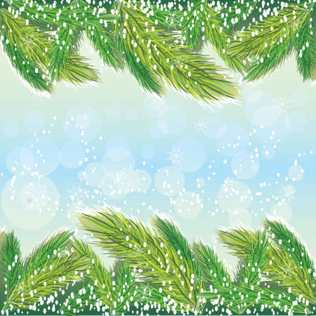 Winer background with pine tree 向量圖像