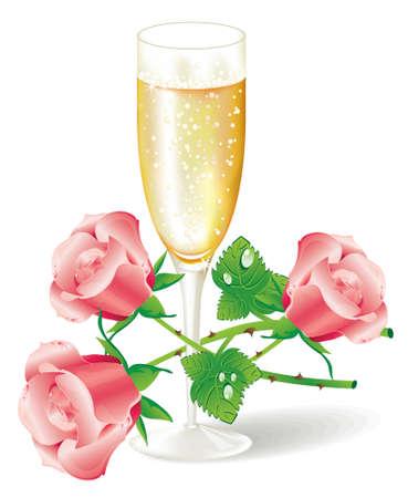Bicchiere di champagne con rose rosa (vector Vettoriali
