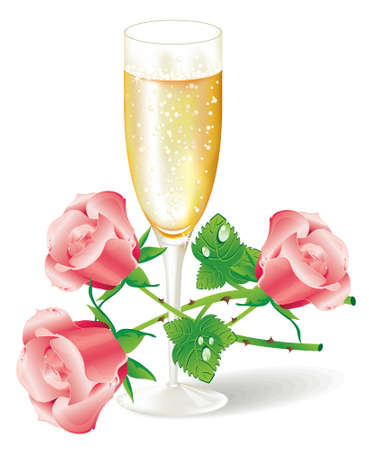 t background: Glass of champagne with pink roses (vector Illustration