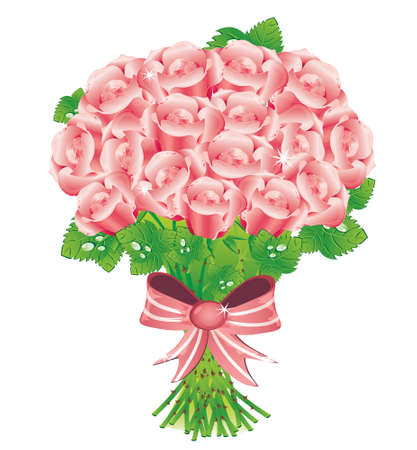 Vector illustrated bouquet of pink roses Stock Vector - 8815115