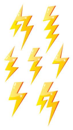 Vector illustrated cartoon lightning