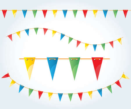 cartoon circus: Vector illustrated flag garland