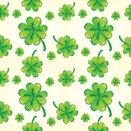 Seamless shamrock pattern, white Vector