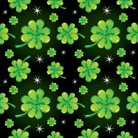 seamless clover: Seamless shamrock pattern, black, vector