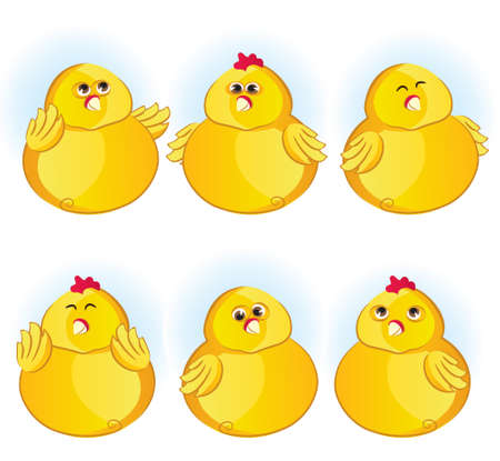Cute vector illustreted chickens  Vector