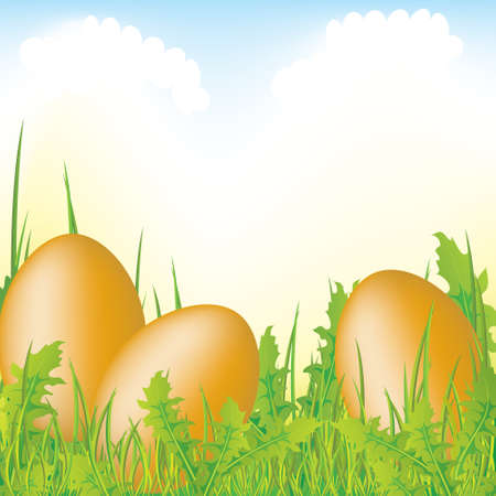 Easter eggs in the grass, illustrated