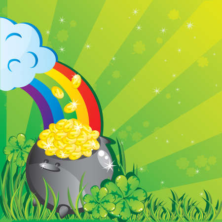 St. Patricks day background with magic pot full of golden coins  Vector