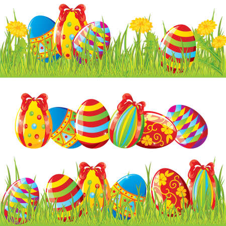 Easter borders with painted eggs