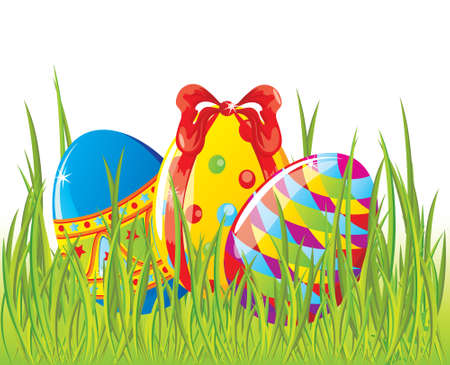 lanscape: Easter painted eggs in grass Illustration