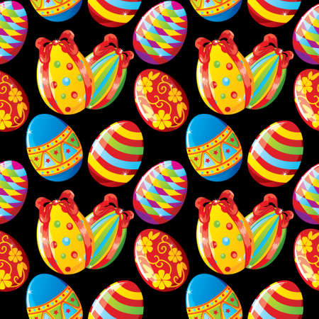 temlate: Seamless Easter background with painted eggs on black